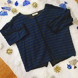 Madewell Striped Back Zip Sweatshirt Blue Small
